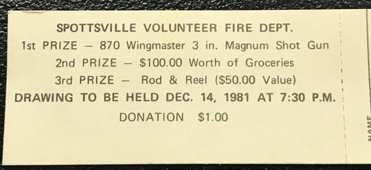 A raffle ticket from a 1981 fundraiser held by the Spottsville VFD.
