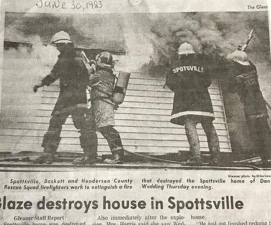 A photo which appeared in a 1983 edition of The Gleaner shows Spottsville VFD members battling a house fire.