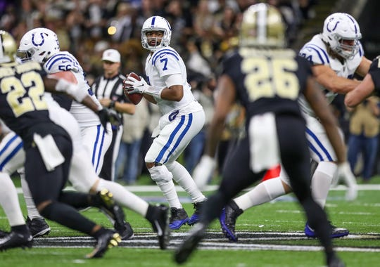 Indianapolis Colts quarterback Jacoby Brissett (7) drops back to pass against the New Orleans Saints during the first quarter at Mercedes-Benz Superdome in New Orleans on Monday, Dec. 16, 2019.
