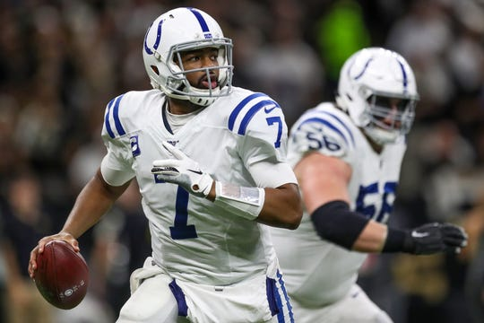 Indianapolis Colts quarterback Jacoby Brissett (7) scrambles against the New Orleans Saints during the second quarter at Mercedes-Benz Superdome in New Orleans on Monday, Dec. 16, 2019.