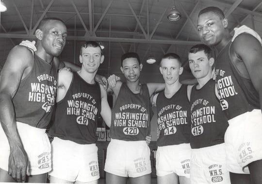 1965 Indianapolis Washington, left to right: Ralph Taylor, Mark Gladson, Marv Winkler, Eddie Bopp, Bill Keller and William Rogers.