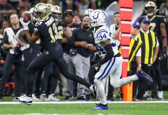 New Orleans Saints wide receiver Michael Thomas (13) pulls in a catch down the sideline against Indianapolis Colts cornerback Rock Ya-Sin (34) during the second quarter at Mercedes-Benz Superdome in New Orleans on Monday, Dec. 16, 2019.