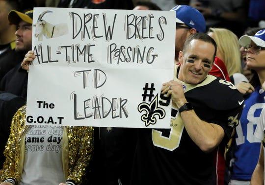 Drew Brees, contento con su hazaña en la NFL.
