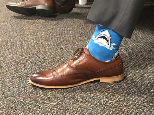 Knox County Mayor Glenn Jacobs wore socks with sharks on them for the Knox County Commission meeting December 16, 2019.