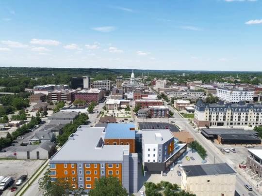 Nova Tower, shown in the foreground, is a planned $16.8 million, 76-unit mixed use project in the 200 block of South Fourth Street in downtown Lafayette. Developers expect to break ground in 2020 and open in summer 2021.
