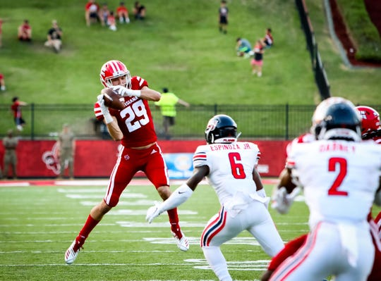 True freshman receiver Peter LeBlanc pulls in a pass against Liberty earlier this season.