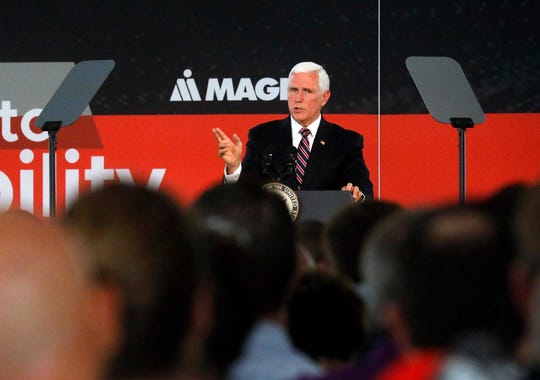 Vice President Mike Pence speaks at the groundbreaking ceremony for the Magna Seating plant Wednesday, July 30, 2019, at the Rock Mill Industrial Park in Lancaster.