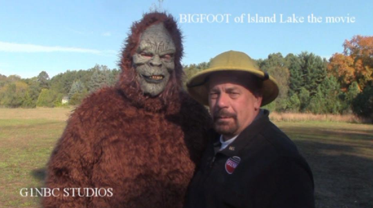 """A promotional image for """"BigFoot of Island Lake,"""" pictures Erik Friesner, left, and Rick Beaudin, two actors in a feature film being shot in Livingston County."""