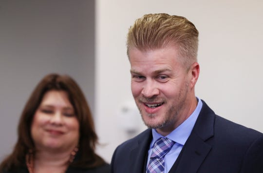 Patrick Baker, who was recently pardoned by former Gov. Matt Bevin, told a reporter that he plans to enjoy the holiday before deciding his next move during a press conference in Lexington, Ky. on Dec. 17, 2019.  Baker's pardon has been criticized because his family donated to Bevin's reelection campaign.