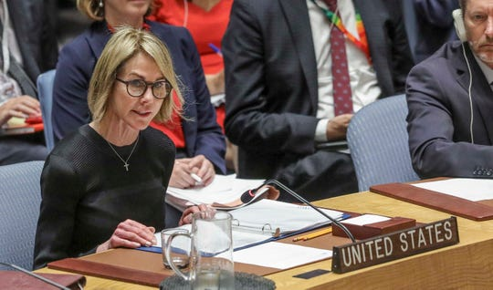 U.S. United Nations Ambassador Kelly Craft address the U.N. Security Council after a failed vote on a humanitarian draft resolution for Syria, Thursday Sept. 19, 2019 at U.N. headquarters. (AP Photo/Bebeto Matthews)