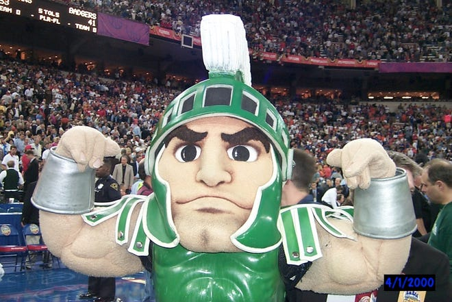 Jason Zicchino served as the Sparty mascot during Michigan State's national title run in the 1999-2000 season.