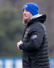 Josh Storms watches as players warm up Tuesday, Dec. 17, 2019, during a practice at University of Memphis' Billy J Murphy Athletic Complex.