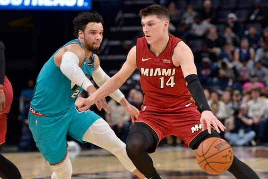 Miami Heat guard Tyler Herro (14) handles the ball against Memphis Grizzlies guard Dillon Brooks in the first half of an NBA basketball game Monday, Dec. 16, 2019, in Memphis, Tenn. (AP Photo/Brandon Dill)