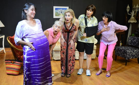 "Cast members of ""The Dixie Swim Club"" are, from left: Judy Scribner as Jeri Neal; Kay Wylie-Jacob as Sheree; Patti Caroli as Lexie; Rhonda Davis as Vernadette; and Carla Grieve as Dinah."