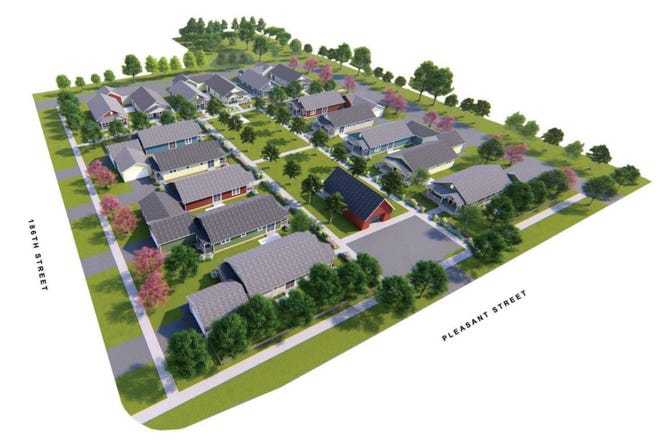 Winter Fields LLC wants to build a pocket neighborhood at 18620 Pleasant St., Brookfield. The design plans revolve around a shared community space in the center of the development.