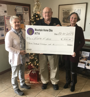 The Mountain Home Elks Lodge #1714 recently presented a $300 check to the Hope For All organization. Hope For All is a faith-based organization which seeks to give hope to those who are homeless, within the Mountain Home area, by ministering to their physical and spiritual needs. Shown are (from left) Kathryn Wedgeworth, Hope For All secretary; Stuart Friend, Elks president and Carolyn Densmore, Hope For All president.