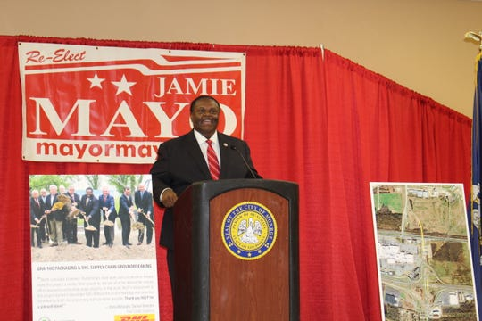 Mayor Jamie Mayo kicks off his campaign for reelection at the Monroe Civic Center on Dec. 16, 2019.
