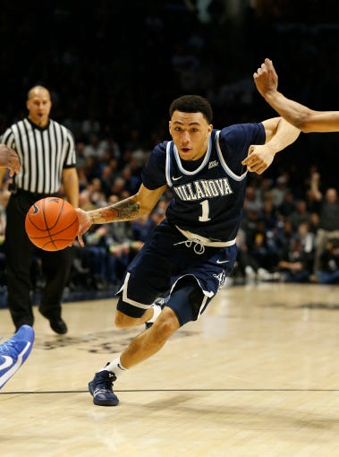 Feb 24, 2019; Cincinnati, OH, USA; Villanova Wildcats guard Jahvon Quinerly (1) dribbles the ball during the second half against the Xavier Musketeers at the Cintas Center. Mandatory Credit: Frank Victores-USA TODAY Sports