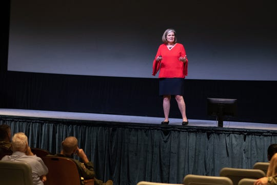 Kristen Christy, 2018 Air Force Spouse of the Year, speaks with Air University personnel Dec. 9, 2019, on Maxwell Air Force Base, Alabama. Christy opened up to the crowd, sharing her life story and giving advice for dealing with adversity.
