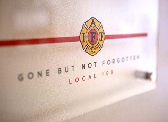 A memorial wall dedicated to honoring Newark firefighters who lost their lives in the line of duty now hangs at Fire Station 1 in Newark.