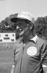 Head coach Allie Sherman on New York Giants football picture day in Fairfield, Conn., on Aug. 22, 1969