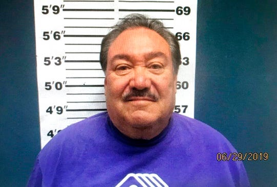 This Saturday, June 29, 2019, file booking photo provided by the Española Police Department shows state Sen. Richard Martinez, D-Española, after he was arrested on drunken driving charges after crashing into another vehicle Friday, June 28 in Española.