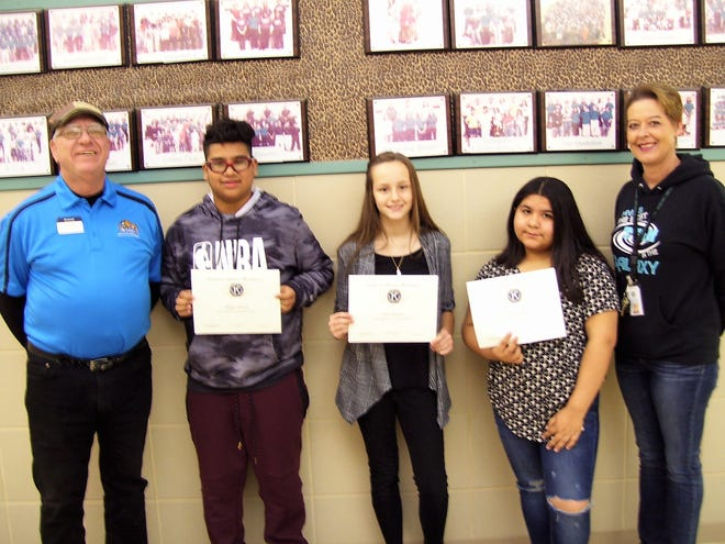 Alamogordo Kiwanis Club recognizes the Most Improved Students at Mountain View Middle School.  From left: Ned Kline of Alamogordo Kiwanis Club, eighth grader Diego Garcia, seventh grader Chloe Wallace, sixth grader Victoria Rojas and Mountain View Middle School Assistant Principal Alicia Edgin.