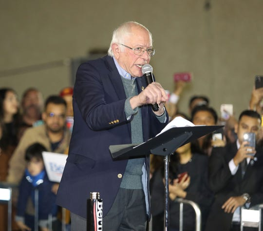 Bernie Sanders addresses a crowd of supporters during a campaign rally in Coachella, December 16, 2019.