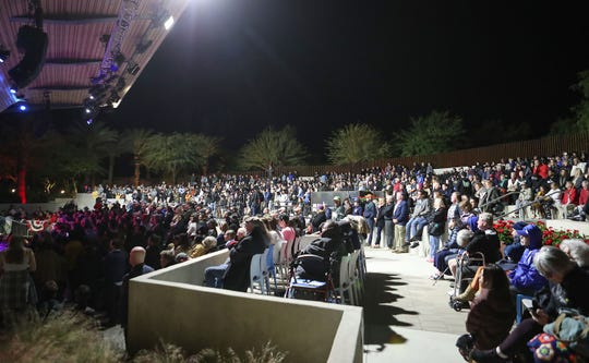 A crowd fills the Rancho Mirage Amphitheater to listen to Bernie Sanders during a campaign stop, December 16, 2019.