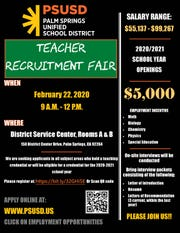 Teacher recruitment fair flyer.