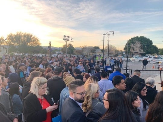 Campaign workers and community members gather ahead of Vermont Sen. Bernie Sanders' appearance in Coachella, Calif., on Dec. 16, 2019.