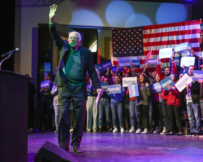Bernie Sanders takes the stage during a campaign rally in Rancho MIrage, December 16, 2019.
