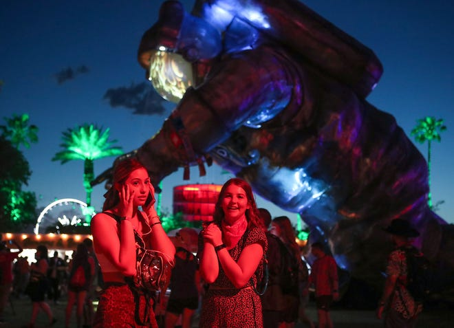 Festival goers at the Coachella Valley Music and Arts Festival in Indio, April 19, 2019.