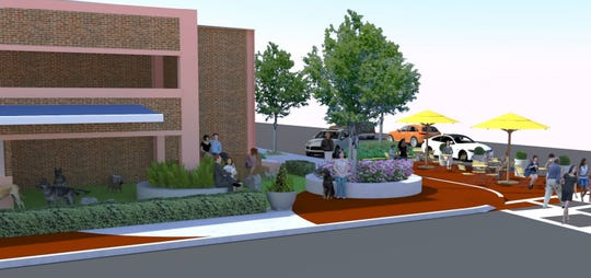 "An architect's rendering of the proposed ""puppy pot-stop"" at the Jefferson Street Garage."