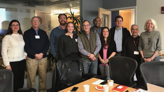 Stakeholders (from left) Ariane Martins, Patrick Rooney, D.C. Reeves, Gracie Woodfin, Kent Summers, Brian Wyer, Barbara Rodriguez, Jim Sparks, Jerome Smith and Luci Braun pose for a photo in November 2019. The group was visiting Boston to learn from the Venture Mentoring Service at MIT.