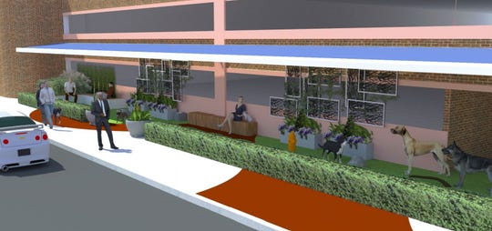 "An architect's rendering of a ""puppy pit-stop"" at the Jefferson Street Garage."