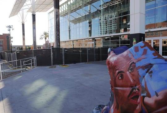 Remodeling construction has begun for the new commissary on the southeast part of Talking Stick Resort Arena in Phoenix Dec. 16, 2019.