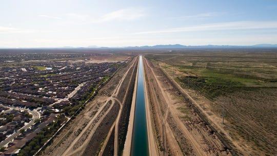 The Sun City Festival community development borders the Central Arizona Project canal in Buckeye, Arizona, on Dec. 11, 2019.