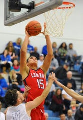Lebanon's Isaiah Rodriguez was a powerful force inside on Monday night, tallying 11 points for the Cedars.