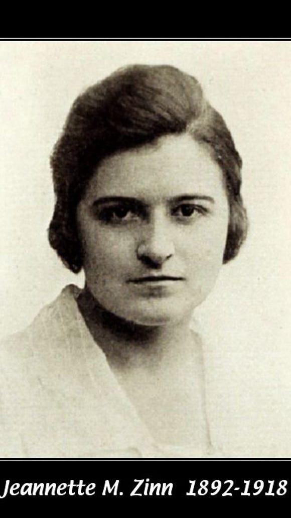 Jeannette Zinn, died from pneumonia in Britain on her way to do YMCA war relief work in France in World War I.