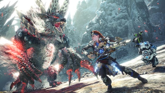 Aloy faces off against Stygian Zinogre in Monster Hunter World: Iceborne.