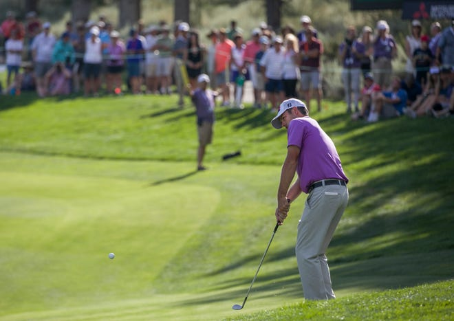 Robert Streb chips onto the 18th green during the Barracuda Championship PGA golf tournament at Montrux Golf and Country Club in Reno, Nevada on Sunday, July 28, 2019.