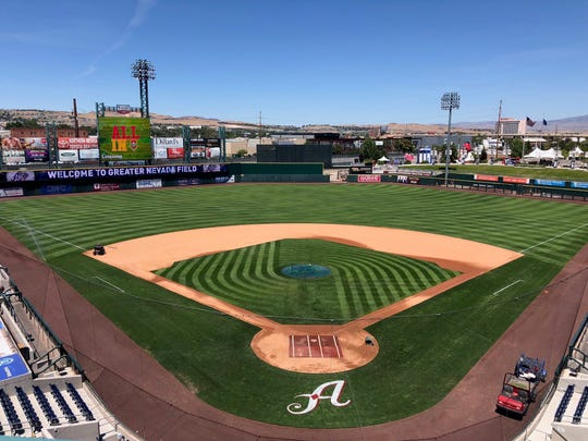 The baseball field at Greater Nevada Field.