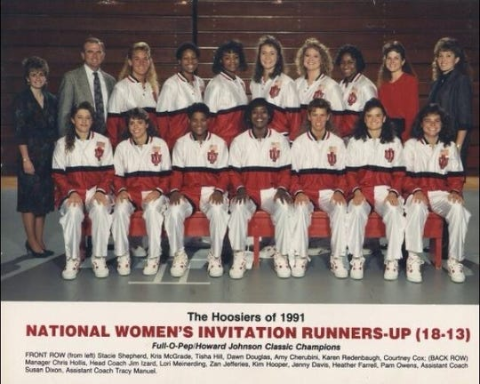 Stacie Shepherd (front row, left) with the Indiana University women's basketball team in 1991.
