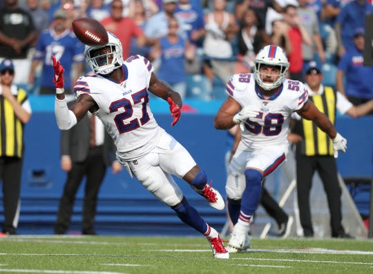 Bills cornerback Tre'Davious White intercepts this pass near the goal line in the last seconds to secure a 21-17 win over the Bengals. White has six interceptions through 14 games this season.