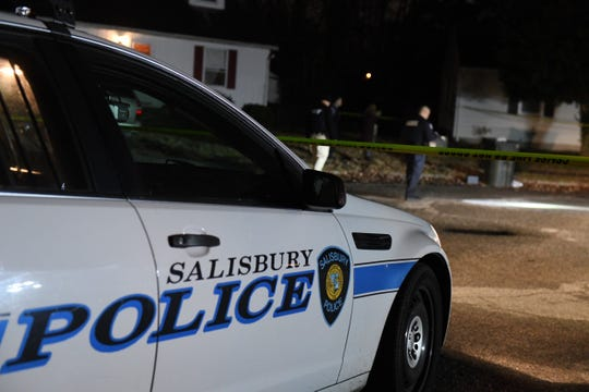 A Salisbury Police Department cruiser sits outside a crime scene in the area of Springfield Circle on Dec. 16, 2019 after a report of shots fired.