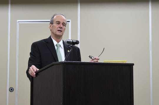 County Executive Bob Culver delivers the State of the County Report in the Wicomico Civic Center in Salisbury on Dec. 16,2019.
