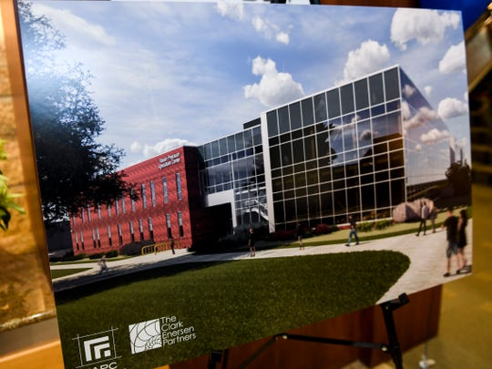 A model shows plans to build a precision agriculture center on SDSU's campus on Tuesday, Dec. 17, 2019 at Poet in Sioux Falls. Poet donated $2 million to help build the precision agriculture center through a partnership with SDSU.