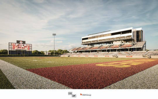 An artists rendering of Northern State's next football stadium