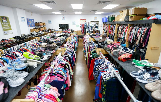 Clothes, shoes and other items at Sammy's Window, a nonprofit which fulfills needs for foster families, and is now part of Foster Adopt Connect located at 509 S. Cavalier Avenue.